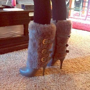 Ami Clubwear high heel boots with fir